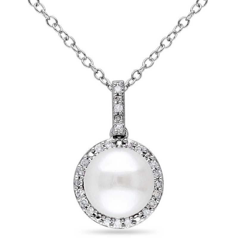P0091P pearl and diamond halo pendant necklace