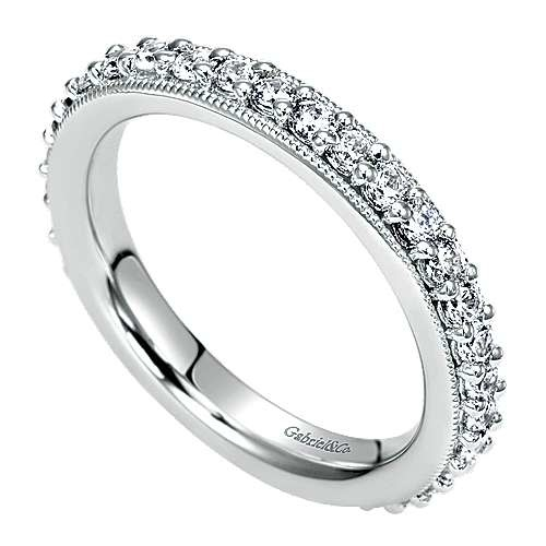 Gabriel & Co AN6021 Prong Set with Milgrain Diamond Eternity Band