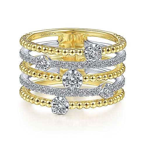 LR51662 multi row gold diamond band