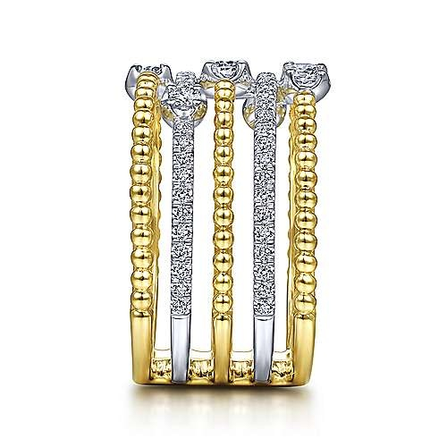 Gabriel & Co LR51662 multi row gold diamond band