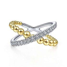 LR51628 Gold Diamond Crossover Ring