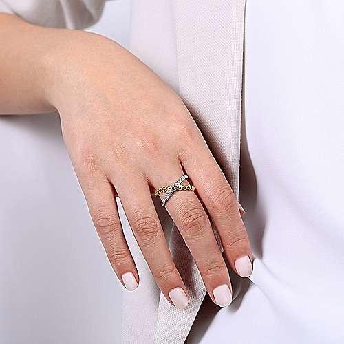 Gabriel & Co LR51628 Gold Diamond Crossover Ring