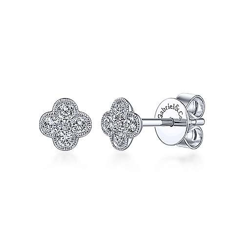 EG13715 Diamond Flower Stud Earrings