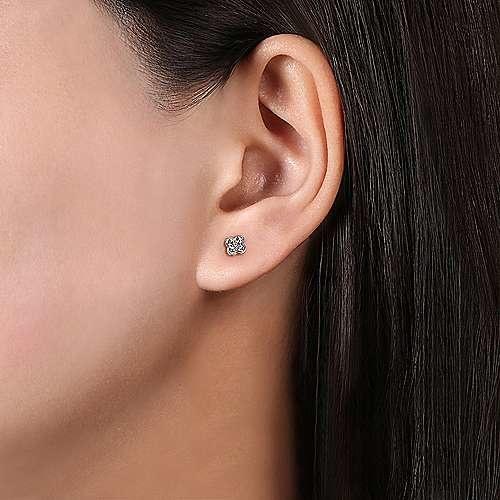 Gabriel & Co EG13715 Diamond Flower Stud Earrings