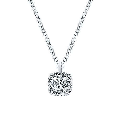 NK5593 Cushion Shaped Diamond Halo Necklace