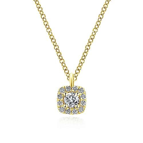 Gabriel & Co NK5593 Cushion Shaped Diamond Halo Necklace