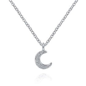 14kt white gold pave moon diamond necklace