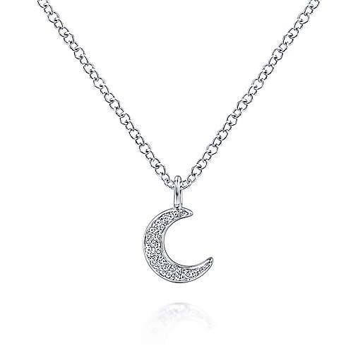 Gabriel & Co 14kt white gold pave moon diamond necklace