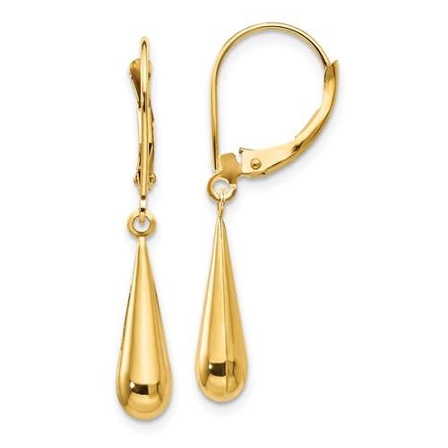 Q Gold 14kt yellow gold teardrop dangle earrings
