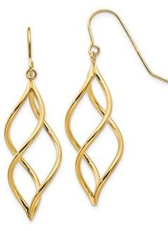14kt yellow gold swirl dangle earrings