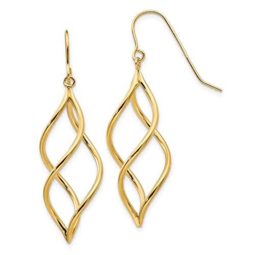 Q Gold 14kt yellow gold swirl dangle earrings