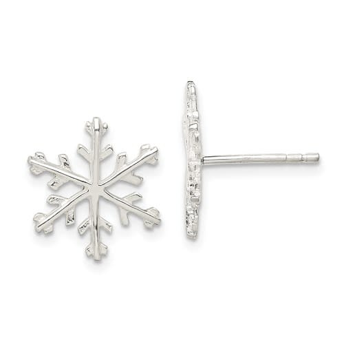 Q Gold Sterling Silver Snowflake Post Earrings
