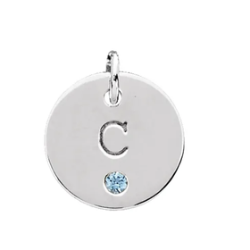 Sterling Silver Engravable mini disc pendant with gemstone