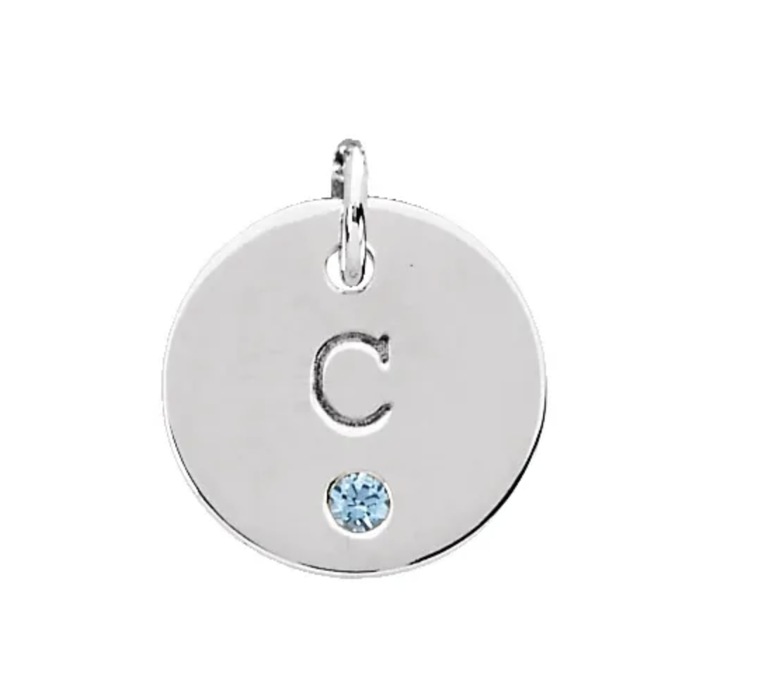 Stuller Sterling Silver Engravable mini disc pendant with gemstone