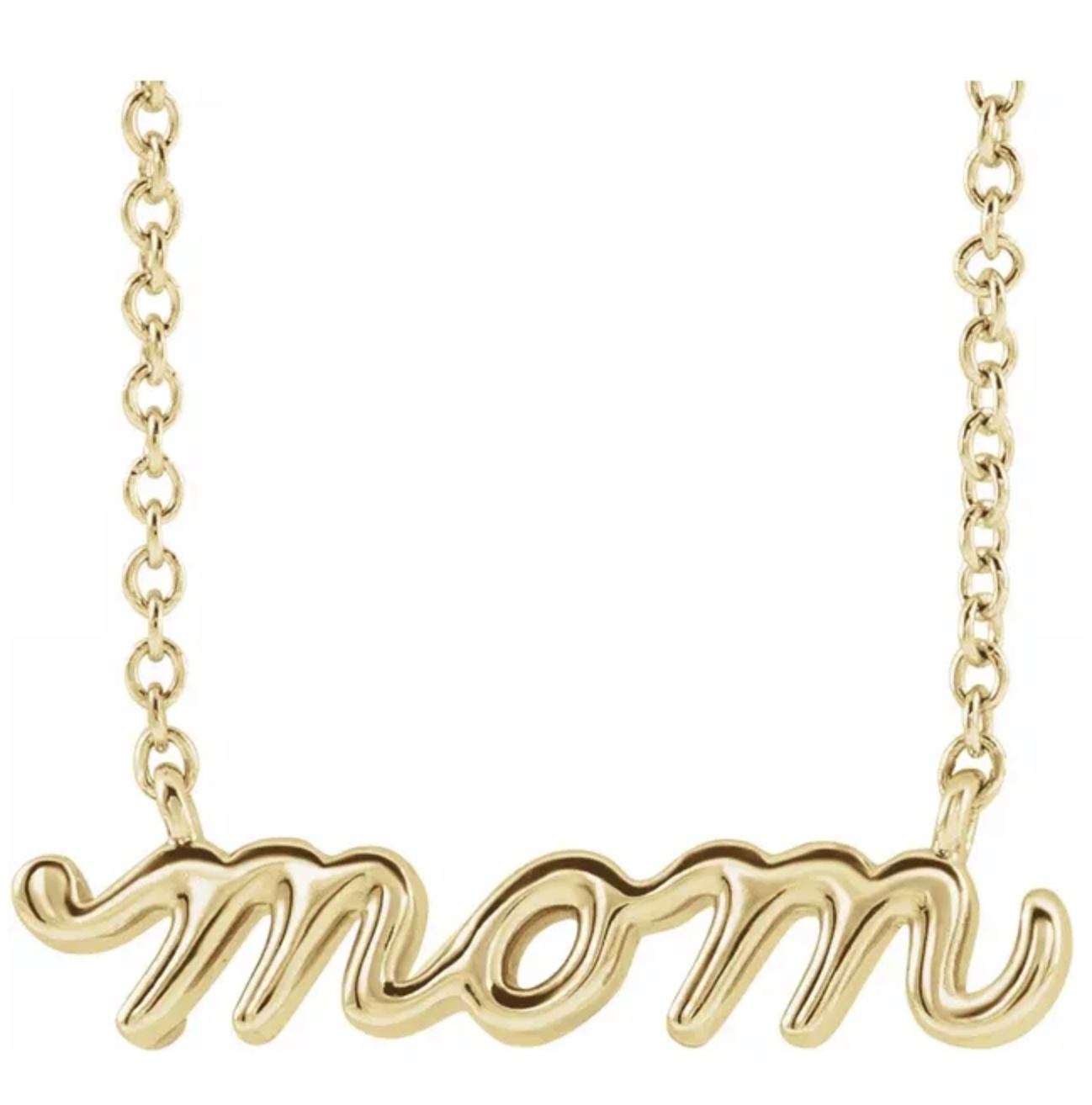 14kt Gold Petite Mom Script Necklace