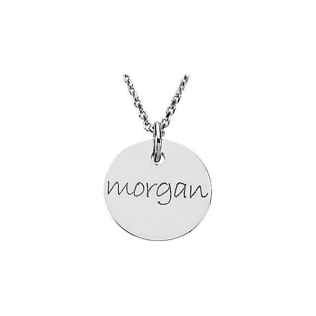 Sterling silver engraved mini disc pendant
