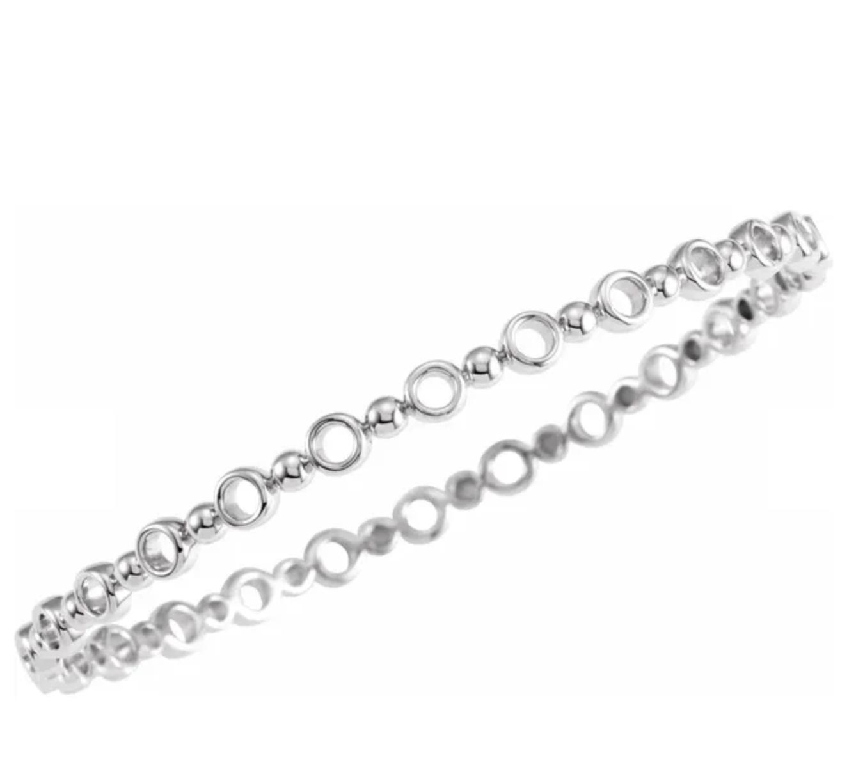 Stuller BRC789 Silver Geometric Bracelet