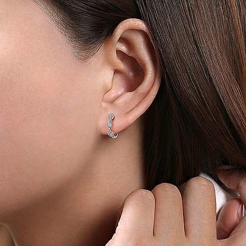 Gabriel & Co 14kt White Gold Diamond Station Huggie Earrings