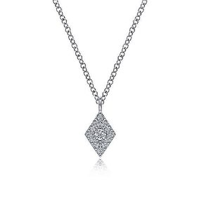NK6415 14kt White Gold Diamond Pave Pendant