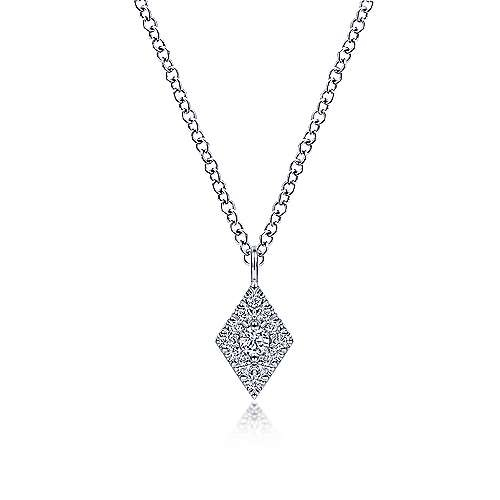 Gabriel & Co NK6415 14kt White Gold Diamond Pave Pendant