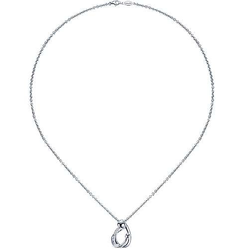 Gabriel & Co Silver Mother & Child Pendant Necklace with Diamonds