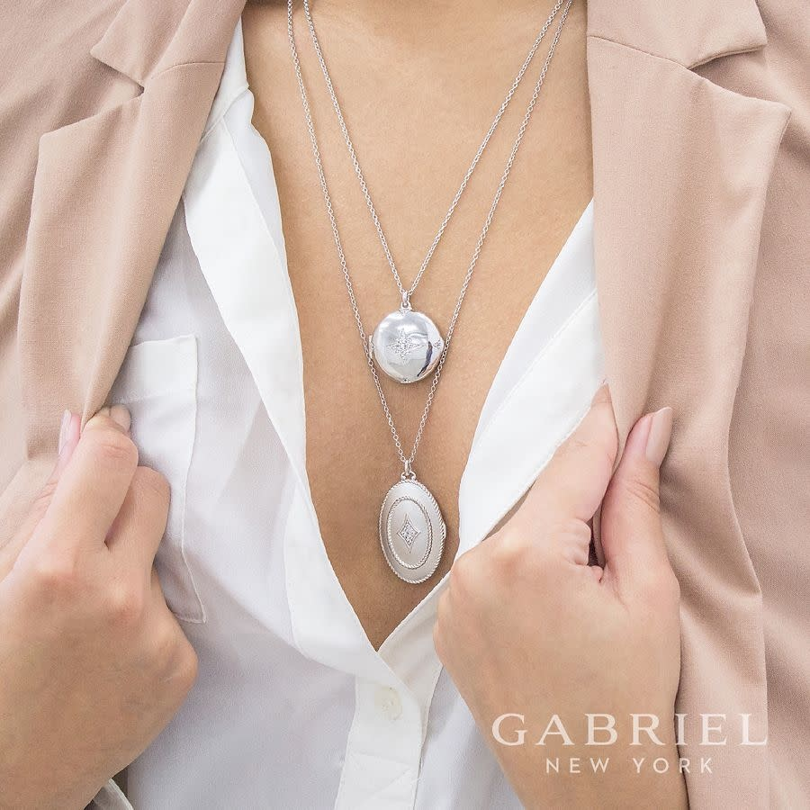 Gabriel & Co Sterling Silver Oval Locket with White Sapphire