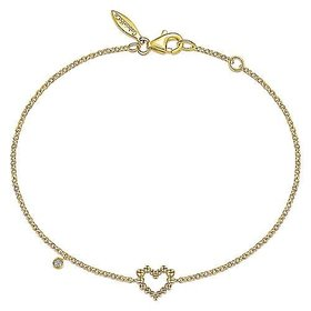 TB4386 14kt Yellow Gold Heart Bracelet