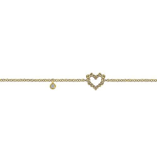 Gabriel & Co TB4386 14kt Yellow Gold Heart Bracelet