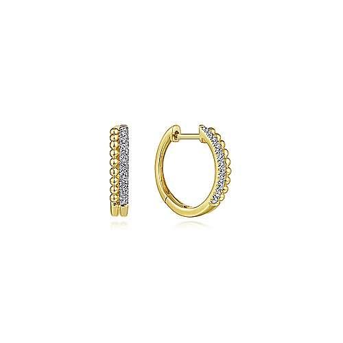 Gabriel & Co EG13584 14kt Gold 10mm Beaded Diamond Huggie Earrings