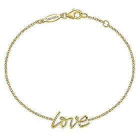 14kt Yellow Gold Love Chain Bracelet