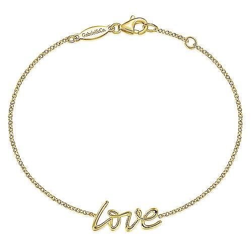 Gabriel & Co 14kt Yellow Gold Love Chain Bracelet