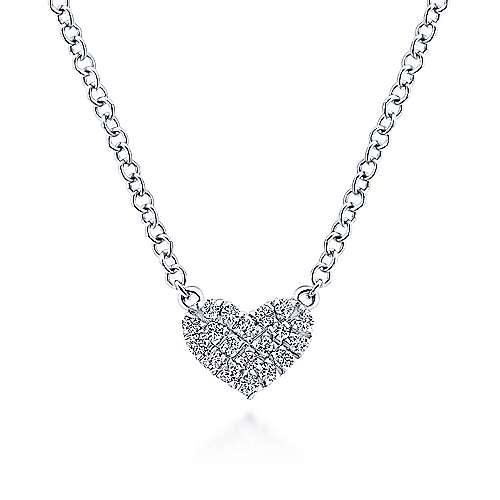 14kt White Gold Pave Diamond Heart Necklace