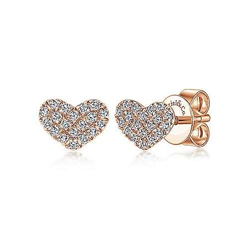 Gabriel & Co 14KT Gold Heart Shaped Pave Diamond Stud Earrings