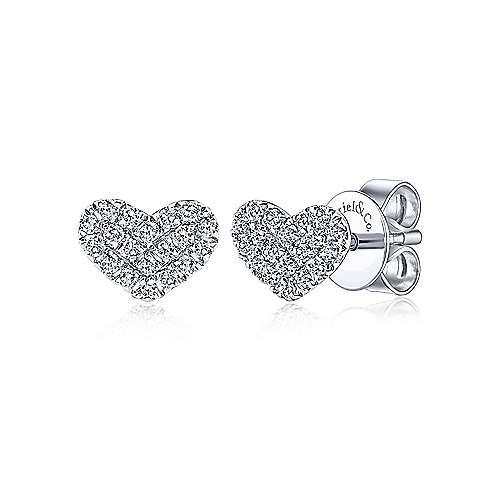 14KT Gold Heart Shaped Pave Diamond Stud Earrings