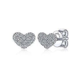 14KT Gold Heart Shaped Pave Diamond Stud Earrings