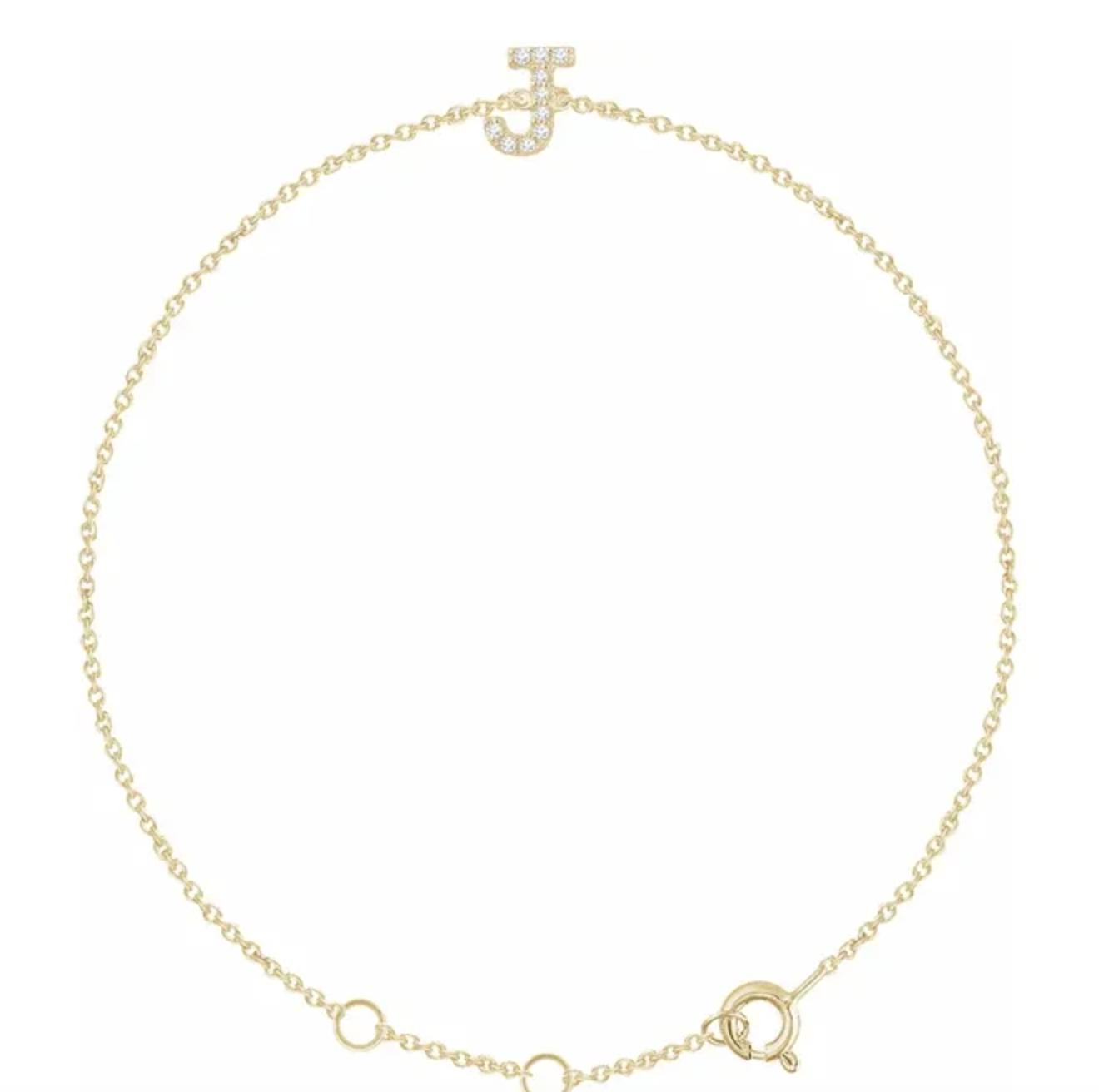 Stuller 14kt Gold Diamond Initial Bracelet
