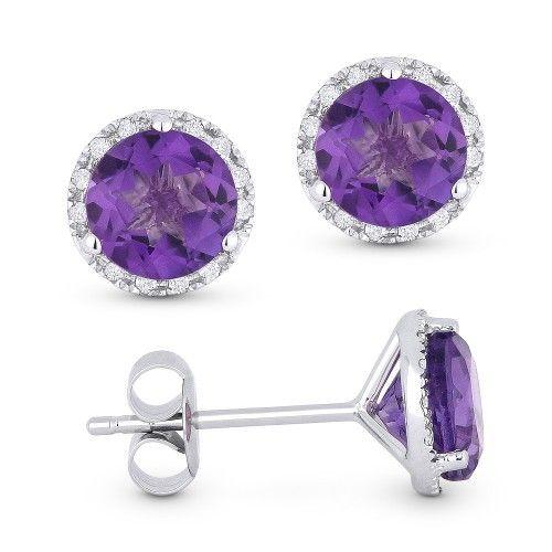 Madison L amethyst and diamond halo earrings DE11102