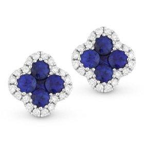 Blue sapphire and diamond cluster stud earrings