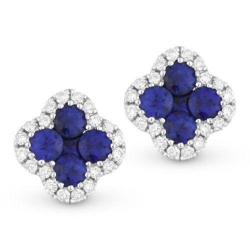 Madison L Blue sapphire and diamond cluster stud earrings