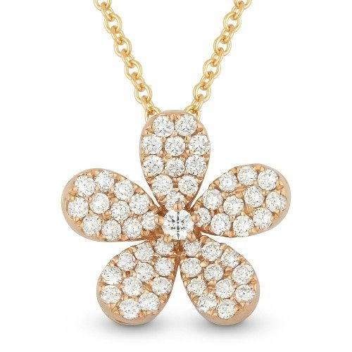 Madison L Dn3709 14kt Rose Gold Flower Design Necklace Freedman