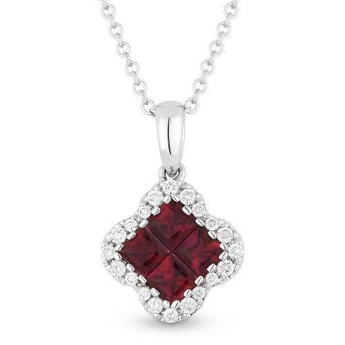 Madison L DN4305 Ruby and diamond cluster necklace
