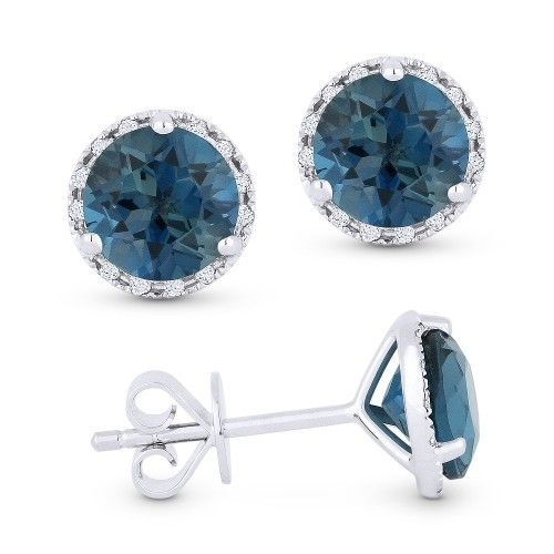 Madison L  DE11609 London Blue topaz and diamond stud earrings
