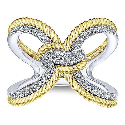 Gabriel & Co LR51306 Gold Diamond Knot Ring
