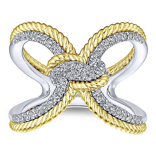 LR51306 Gold Diamond Knot Ring
