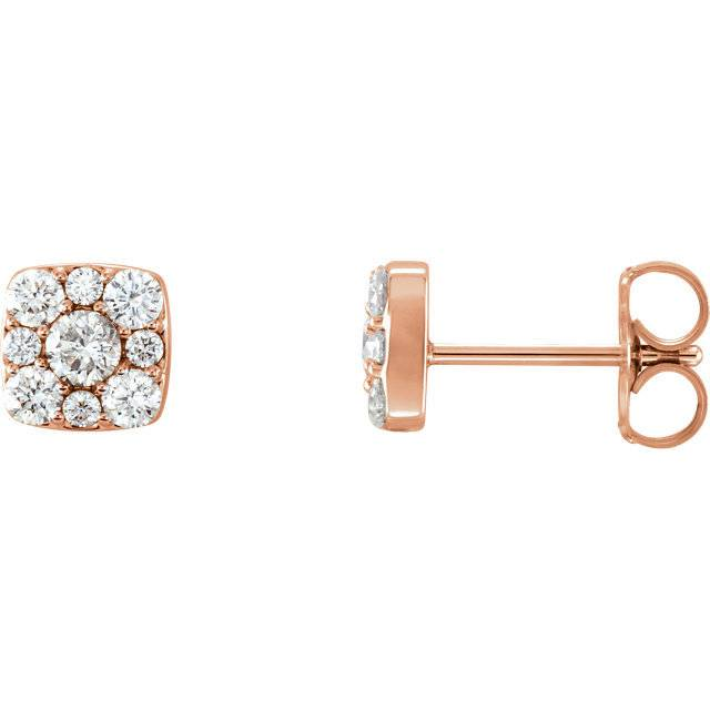 Stuller 86515 14kt rose gold diamond halo earrings