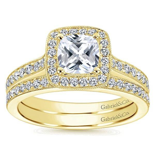 Gabriel & Co ER10694 yellow gold cushion halo