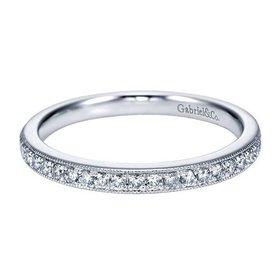 WB7282 milgrain diamond wedding band
