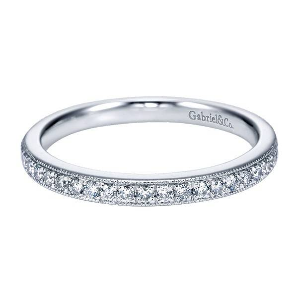 WB7282 milgrain diamond wedding band