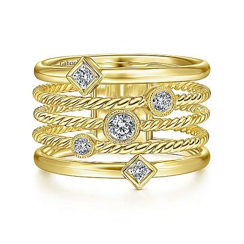 14KT Yellow Gold Five Row Twisted Rope and Diamond Station Ring