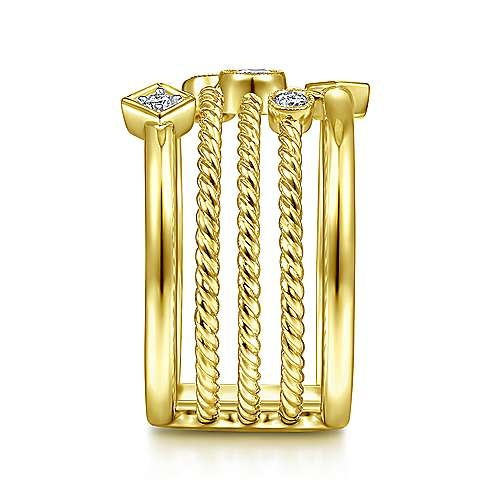 Gabriel & Co 14KT Yellow Gold Five Row Twisted Rope and Diamond Station Ring
